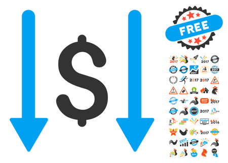takings: Receive Money pictograph with bonus 2017 new year graphic icons. Vector illustration style is flat iconic symbols,modern colors.