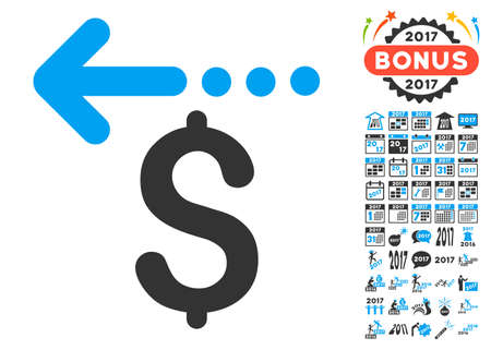 moneyback: Refund icon with bonus 2017 new year images. Vector illustration style is flat iconic symbols,modern colors.