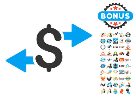 spend: Spend Money icon with bonus 2017 new year pictures. Vector illustration style is flat iconic symbols,modern colors. Illustration