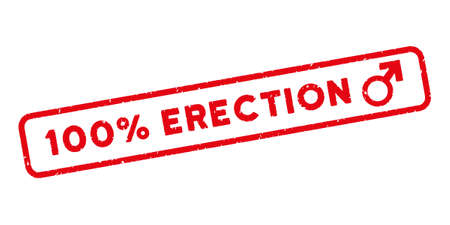 erection: 100 Percent Erection text for watermark stamps. Tag inside rounded rectangular banner with grunge design and dust texture. Glyph rubber seal print on a white background. Distressed red ink sign.