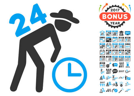porter: Around the Clock Work icon with bonus 2017 new year images. Vector illustration style is flat iconic symbols,modern colors.