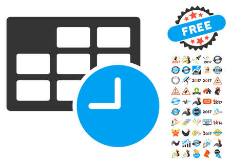 Date and Time icon with bonus 2017 new year graphic icons. Vector illustration style is flat iconic symbols,modern colors. Illustration