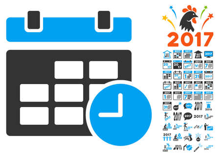 Date and Time icon with bonus 2017 new year images. Vector illustration style is flat iconic symbols,modern colors. Illustration
