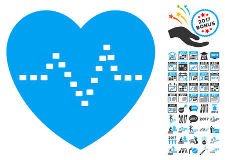 Dotted Heart Pulse icon with bonus 2017 new year pictures. Vector illustration style is flat iconic symbols,modern colors. Illustration