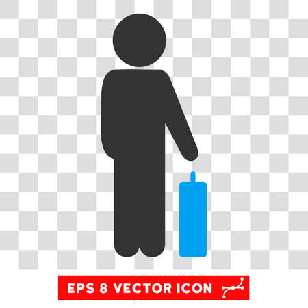 Child Baggage EPS vector icon. Illustration style is flat iconic bicolor blue and gray symbol. Illustration