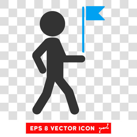 general manager: Child Flag Guide EPS vector icon. Illustration style is flat iconic bicolor blue and gray symbol.