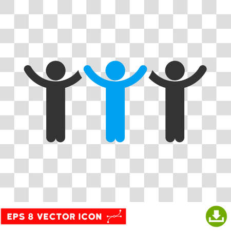 Child Hands Up Roundelay EPS vector icon. Illustration style is flat iconic bicolor blue and gray symbol. Illustration