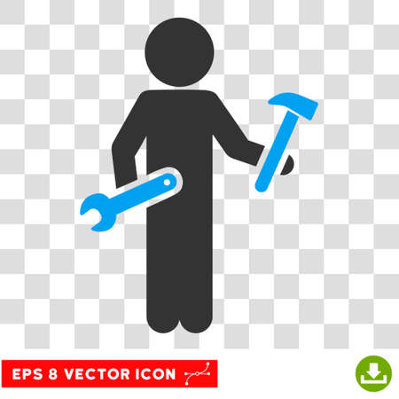 Child Serviceman EPS vector pictograph. Illustration style is flat iconic bicolor blue and gray symbol.