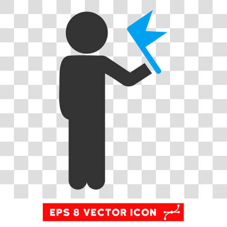 general manager: Child With Flag EPS vector icon. Illustration style is flat iconic bicolor blue and gray symbol. Illustration