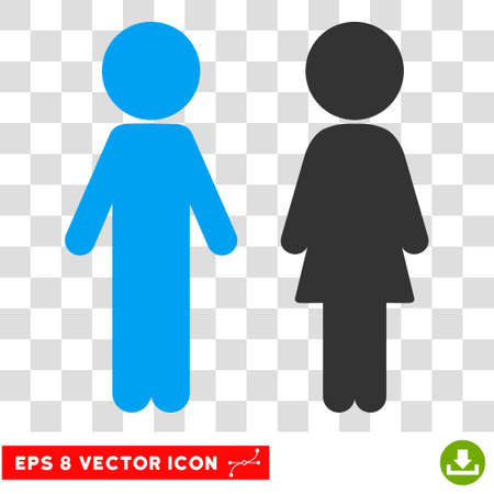Children Couple EPS vector pictograph. Illustration style is flat iconic bicolor blue and gray symbol. Illustration