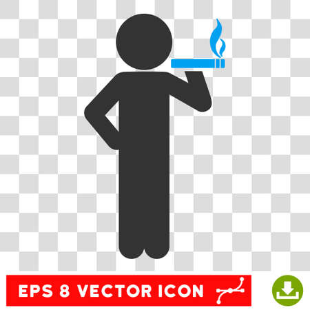 slob: Smoking Child EPS vector pictograph. Illustration style is flat iconic bicolor blue and gray symbol.