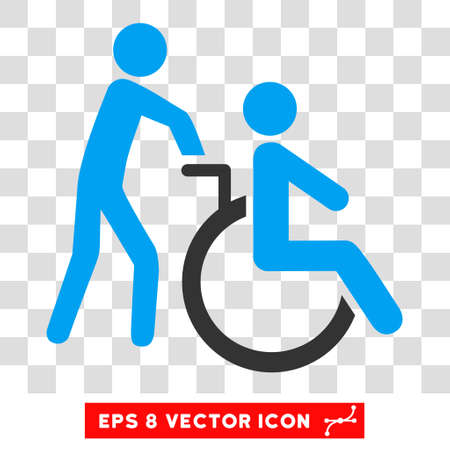 Disabled Person Transportation EPS vector pictogram. Illustration style is flat iconic bicolor blue and gray symbol.