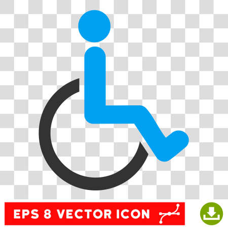 Disabled Person EPS vector pictogram. Illustration style is flat iconic bicolor blue and gray symbol. Illustration