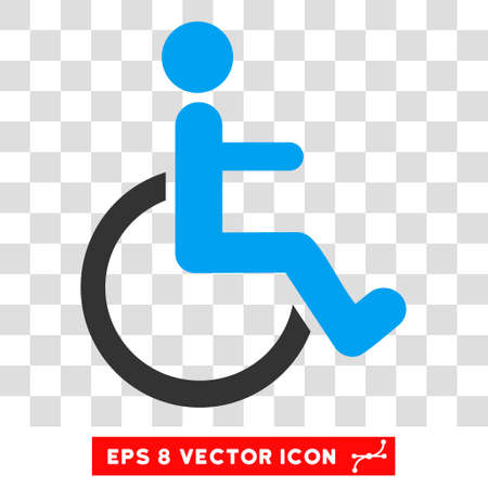 invalid: Disabled Person EPS vector pictograph. Illustration style is flat iconic bicolor blue and gray symbol.