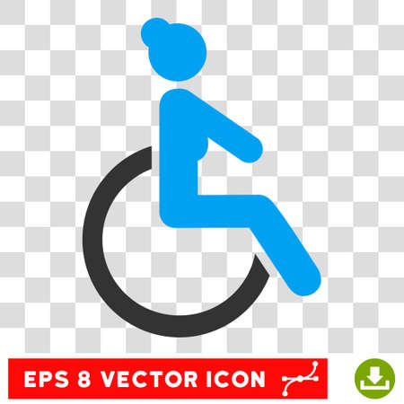 invalid: Disabled Woman EPS vector icon. Illustration style is flat iconic bicolor blue and gray symbol. Illustration