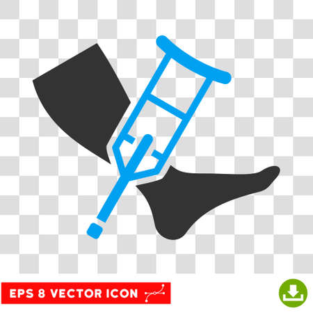 Leg and Crutch EPS vector icon. Illustration style is flat iconic bicolor blue and gray symbol. Illustration