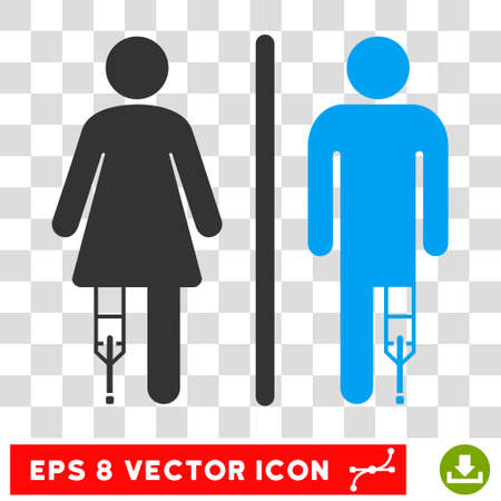 eps vector icon: Patient WC Persons EPS vector icon. Illustration style is flat iconic bicolor blue and gray symbol.