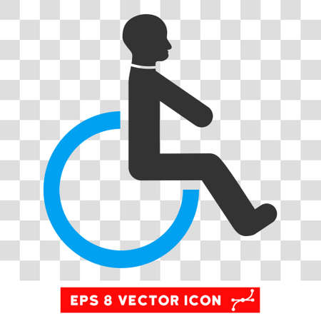 Wheelchair EPS vector icon. Illustration style is flat iconic bicolor blue and gray symbol. Illustration
