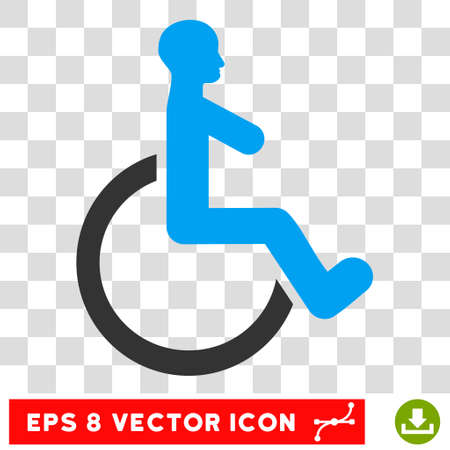 Wheelchair EPS vector pictograph. Illustration style is flat iconic bicolor blue and gray symbol. Illustration