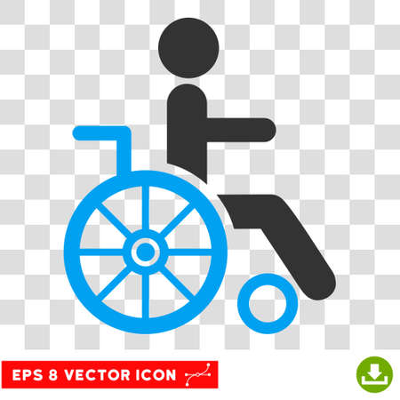 eps vector icon: Wheelchair EPS vector icon. Illustration style is flat iconic bicolor blue and gray symbol. Illustration
