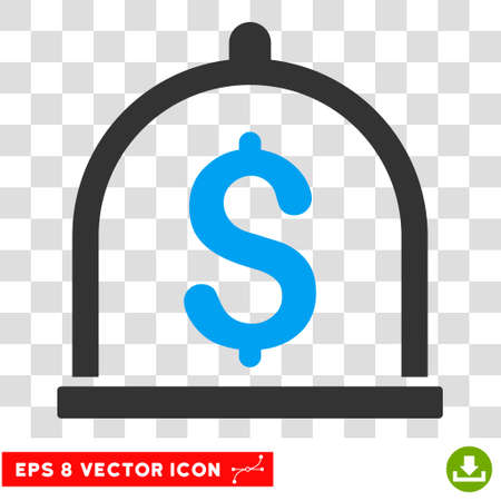 Dollar Deposit EPS vector pictogram. Illustration style is flat iconic bicolor blue and gray symbol. Illustration