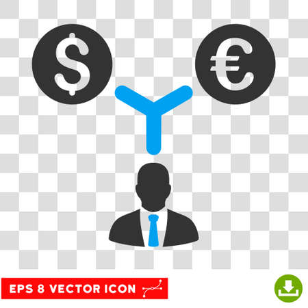 Currency Management EPS vector pictogram. Illustration style is flat iconic bicolor blue and gray symbol.