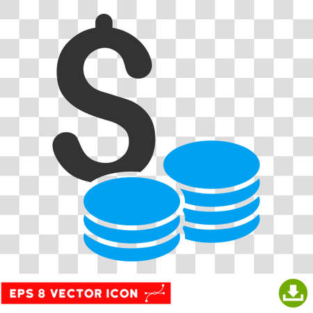 Dollar Cash EPS vector icon. Illustration style is flat iconic bicolor blue and gray symbol.