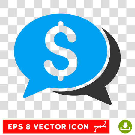sms payment: Financial Chat EPS vector pictograph. Illustration style is flat iconic bicolor blue and gray symbol. Illustration