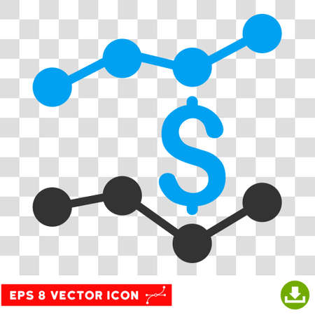 Financial Trends EPS vector pictograph. Illustration style is flat iconic bicolor blue and gray symbol.