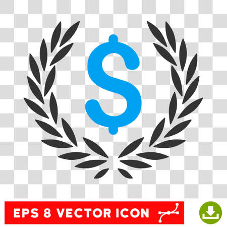 Laurel Bank Emblem EPS vector pictograph. Illustration style is flat iconic bicolor blue and gray symbol.