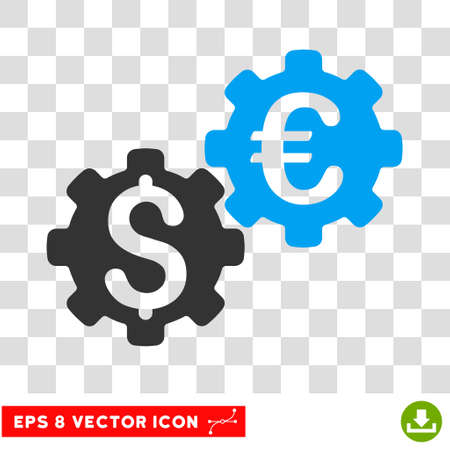 global settings: Financial Mechanics EPS vector icon. Illustration style is flat iconic bicolor blue and gray symbol.