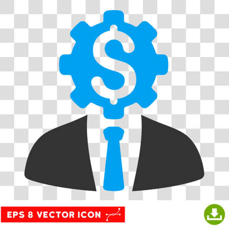robotic transmission: Office Bank Robot Worker EPS vector pictogram. Illustration style is flat iconic bicolor blue and gray symbol. Illustration