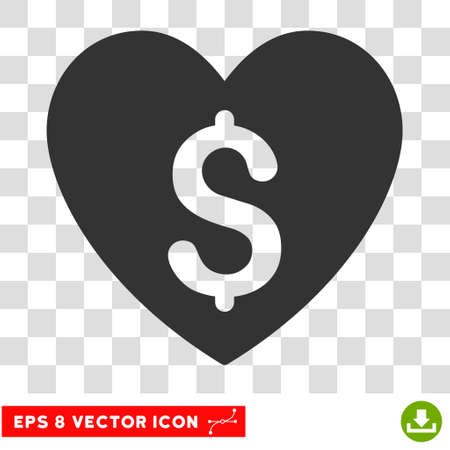 Paid Love EPS vector icon. Illustration style is flat iconic gray symbol.