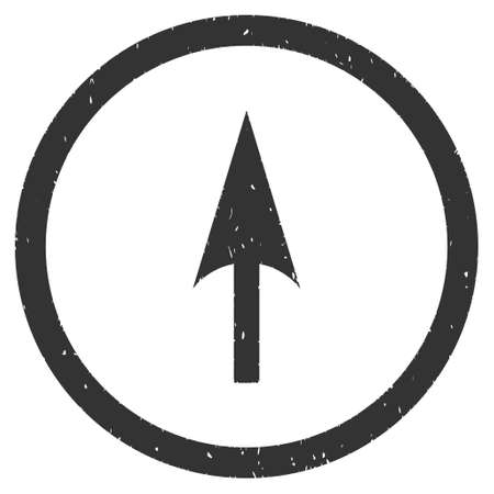 Arrow Axis Y rubber seal stamp watermark. Icon glyph symbol with grunge design and unclean texture. Scratched gray ink sign on a white background.