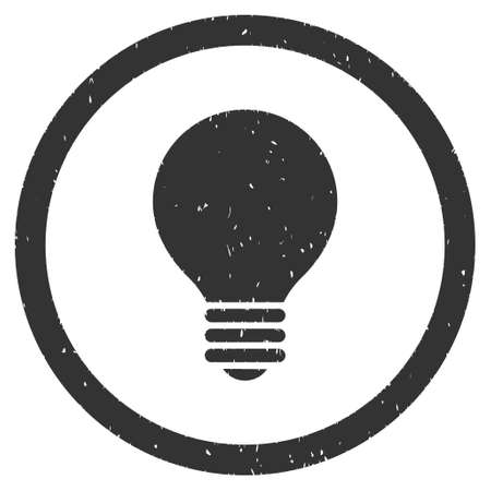 electric bulb: Electric Bulb rubber seal stamp watermark. Icon glyph symbol with grunge design and dust texture. Scratched gray ink sticker on a white background. Stock Photo