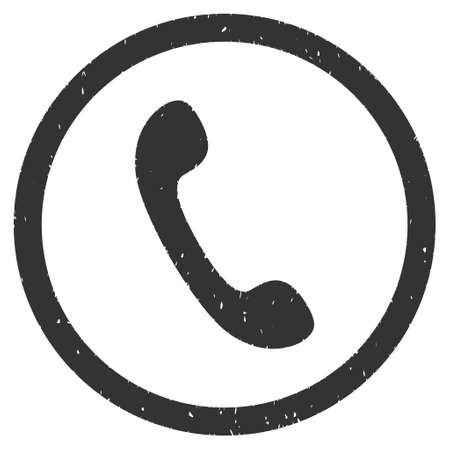 phone receiver: Phone Receiver rubber seal stamp watermark. Icon glyph symbol with grunge design and corrosion texture. Scratched gray ink sticker on a white background.