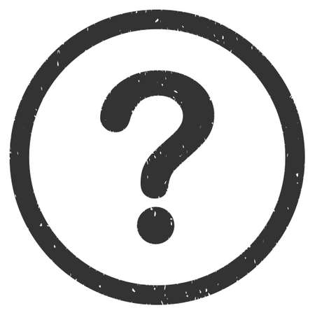 Question rubber seal stamp watermark. Icon glyph symbol with grunge design and dirty texture. Scratched gray ink sign on a white background. Stock Photo