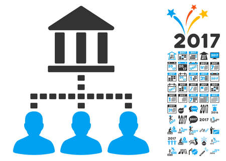 hierarchy: Bank Building Client Links pictograph with bonus 2017 new year graphic icons. Glyph illustration style is flat iconic symbols,modern colors. Stock Photo