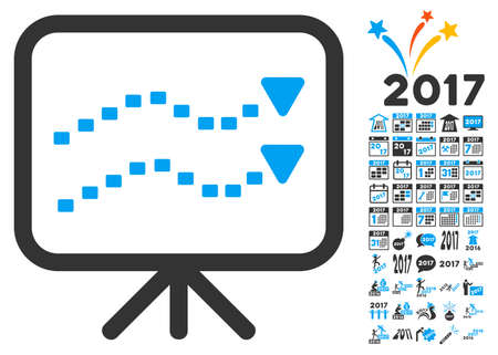slideshow: Dotted Trends Board pictograph with bonus 2017 new year graphic icons. Glyph illustration style is flat iconic symbols,modern colors. Stock Photo