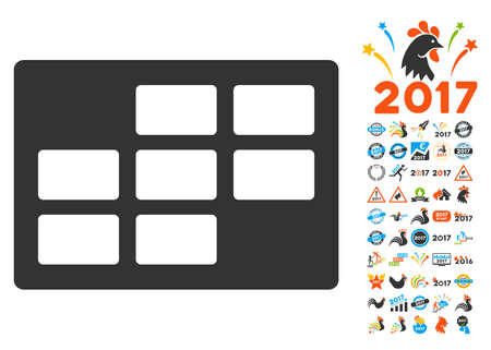 dataset: Calendar Table pictograph with bonus 2017 new year clip art. Glyph illustration style is flat iconic symbols,modern colors. Stock Photo