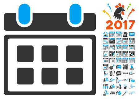 calendar icon with bonus 2017 new year clip art glyph illustration style is flat iconic