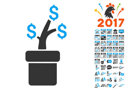 Business Project Plant icon with bonus 2017 new year images. Glyph illustration style is flat iconic symbols,modern colors.
