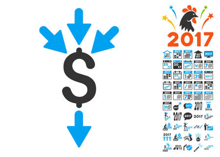 takings: Combine Payments pictograph with bonus 2017 new year icon set. Glyph illustration style is flat iconic symbols,modern colors.