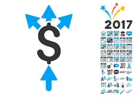 Divida pictograma pago con bonificación 2017 nuevos símbolos año. estilo de ilustración glifo es símbolos icónicos planas, colores modernos.