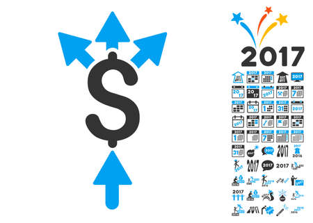 Divide Payment pictograph with bonus 2017 new year symbols. Glyph illustration style is flat iconic symbols,modern colors. Stock Photo