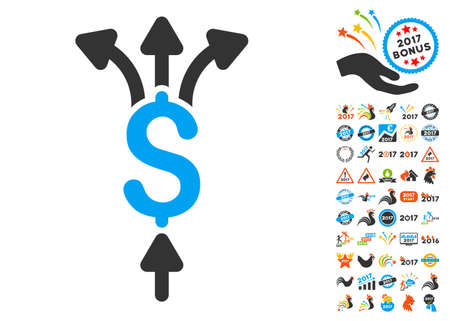 capital gains: Divide Payments pictograph with bonus 2017 new year graphic icons. Glyph illustration style is flat iconic symbols,modern colors.