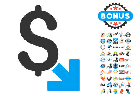 decreasing: Dollar Decrease icon with bonus 2017 new year symbols. Glyph illustration style is flat iconic symbols,modern colors.