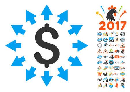 Dollar Distribution icon with bonus 2017 new year clip art. Glyph illustration style is flat iconic symbols,modern colors.