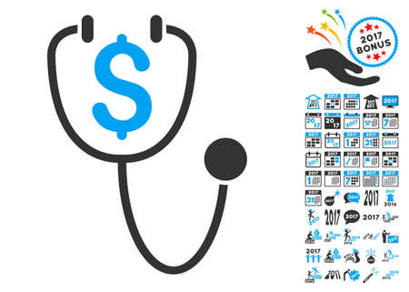 doctor with dollars: Dollar Health pictograph with bonus 2017 new year graphic icons. Glyph illustration style is flat iconic symbols,modern colors. Stock Photo