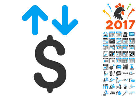 sync: Dollar Transactions icon with bonus 2017 new year pictograph collection. Glyph illustration style is flat iconic symbols,modern colors.